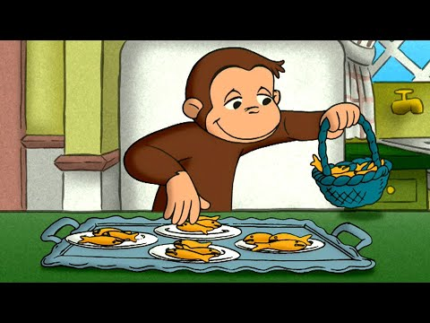 Distracting the Quints with Fish Crackers | Curious George | Animated Cartoons For Children