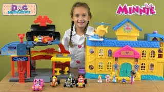 Mickey and Minnie Mouse Garage and Car Racing Story with Disney Junior Doc McStuffins Hospital Toys