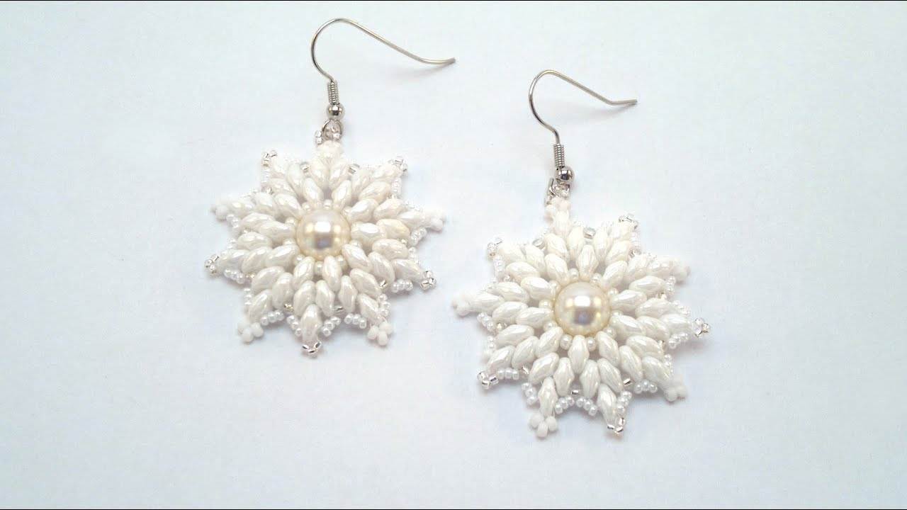 Beading4perfectionists : Snowflake earrings with Swarovski pearl ...
