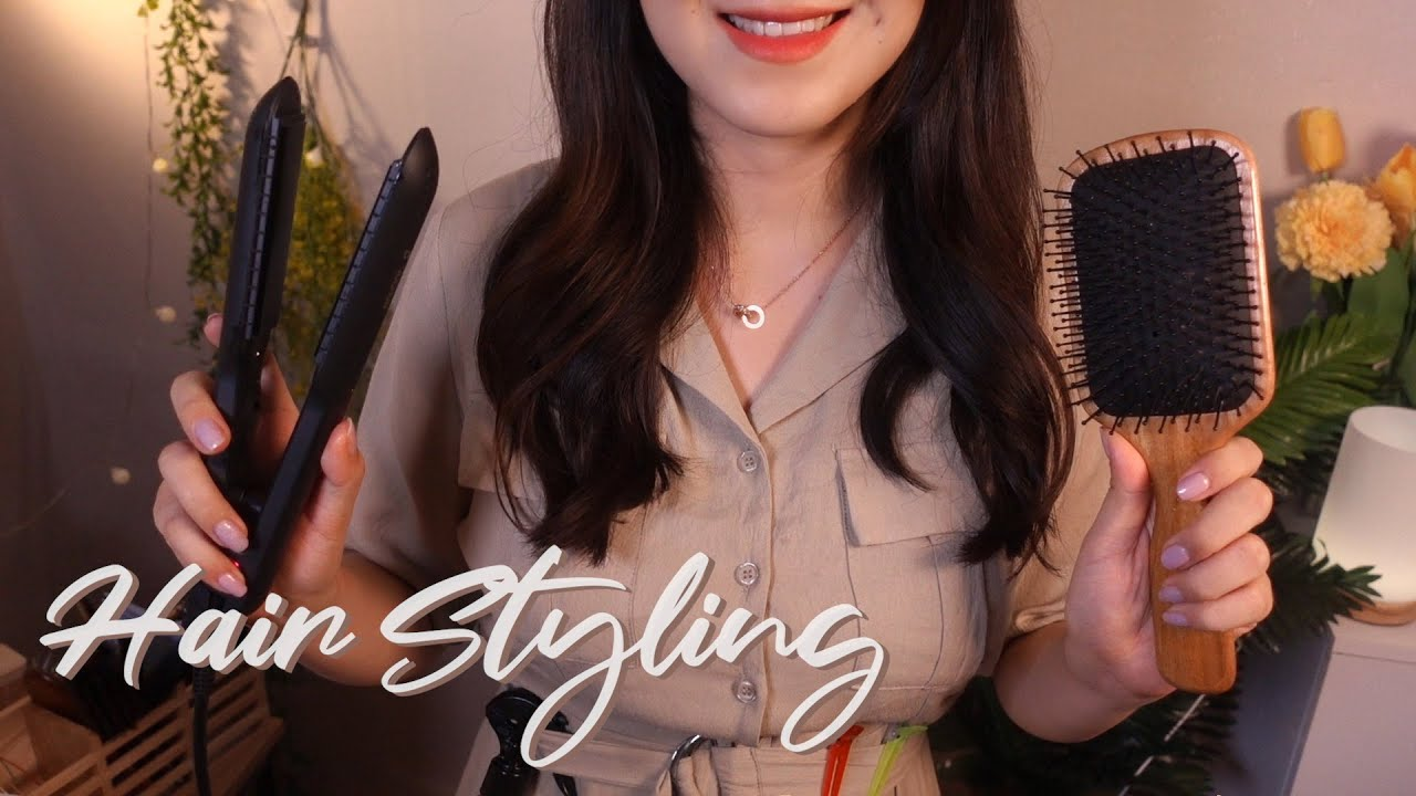 ASMR Hair Styling✨ Brushing and Curling w/ Steam (Layered + No Talking)