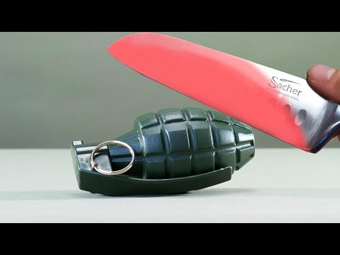 EXPERIMENT Glowing 1000 degree KNIFE VS A GRENADE