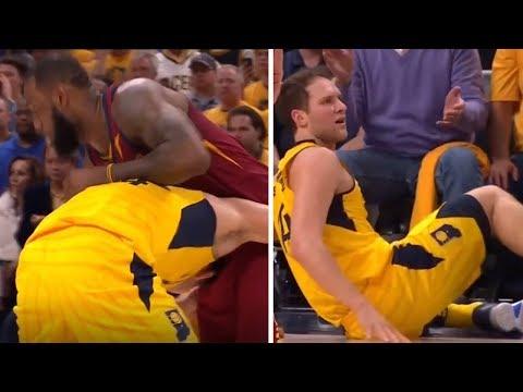 James LeBron HEADLOCKS Bojan Bogdanovic and Throws Him on the Floor   James Still Gets the Foul?!