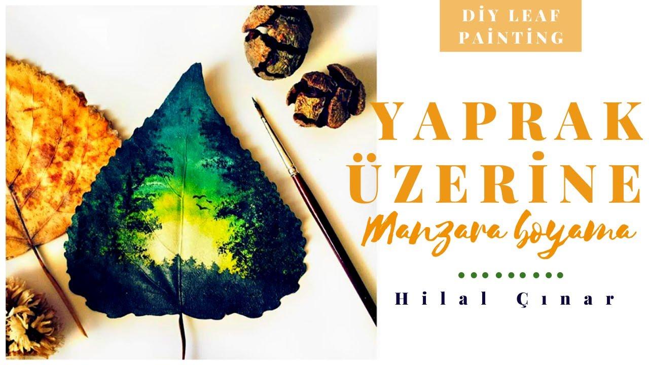 Leaf Painting Sunset Time Lapse Diy Yaprak Boyama çalışması Youtube