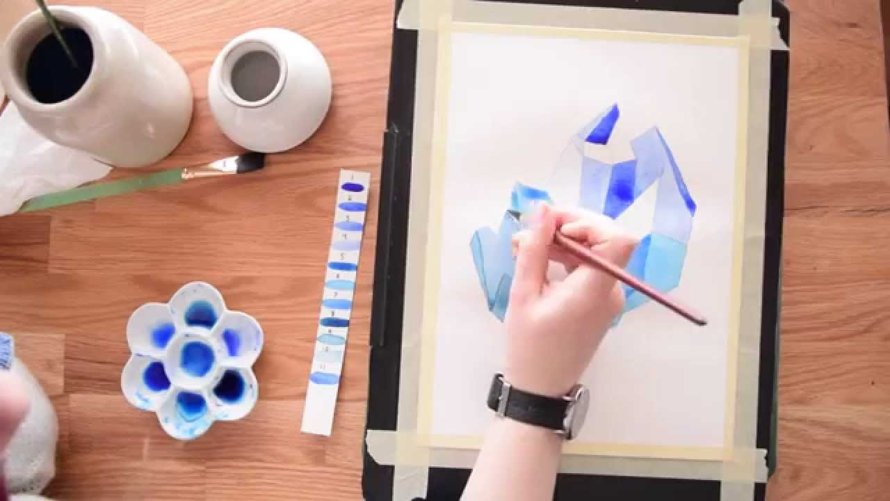 Paint a crystal cluster in watercolor beginner 39 s for Video tutorial on watercolor painting