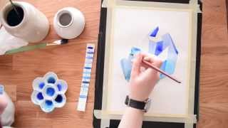 Paint a Crystal Cluster in Watercolor ~ Beginner