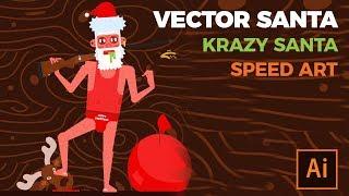 Drawing Redneck Santa | Vector Speed Art in Adobe illustrator | Free Download Ai file