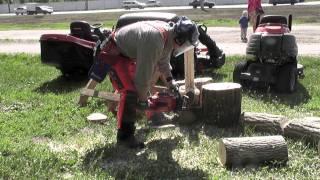 видео Работа бензопилой: принципы распила древесины и меры безопасности