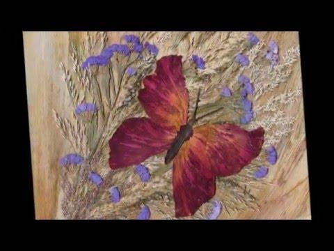 Такие поделки из сухих листьев можно сделать вместе с детьми