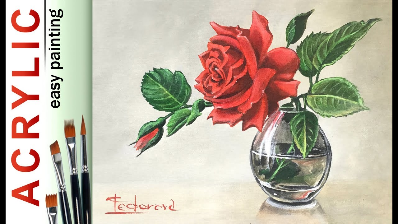 Rose In Glass Vase How To Paint With Glazing Acrylic Tutorial Demo Youtube