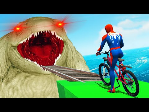 Can you use Bicycle to escape Sea Monster? Car Racer Challenge Superheroes Competition thumbnail