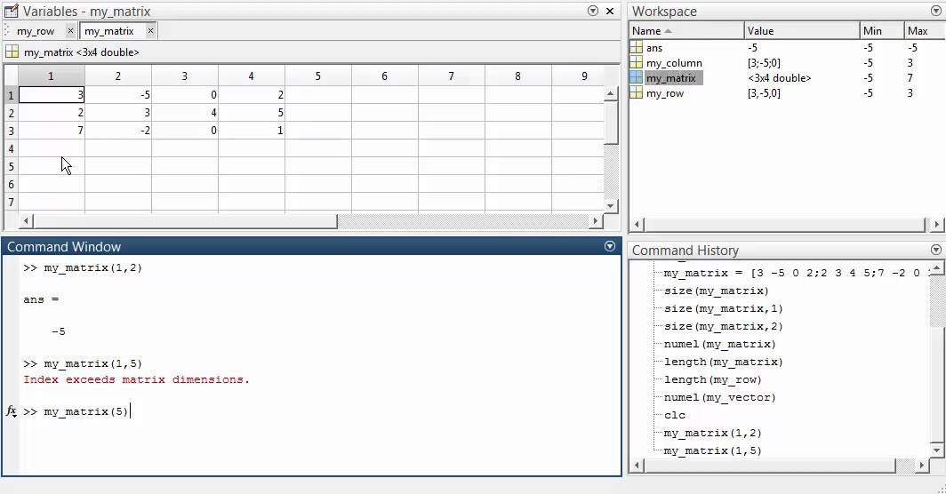 Introduction to Matlab (Numeric Arrays)