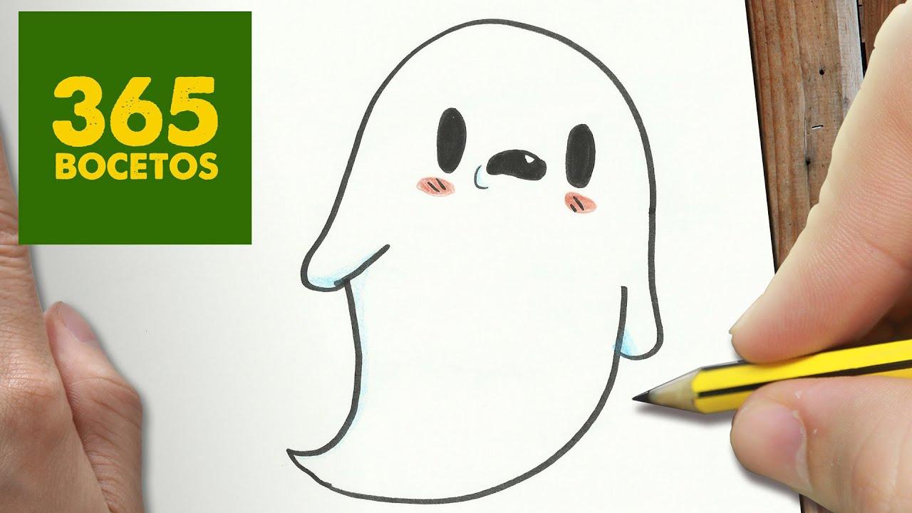 Como Dibujar Fantasma Kawaii Paso A Paso Dibujos Kawaii Faciles