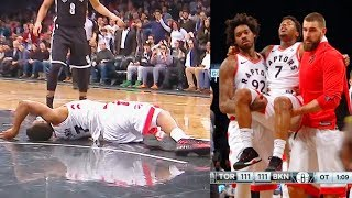 Kyle Lowry Injury - Carried off the Court After Scary Fall on his Back! Raptors vs Nets