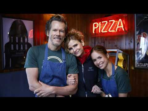 actor Kevin Bacon with his wife actress Kyra Sedgwick and son and daughter