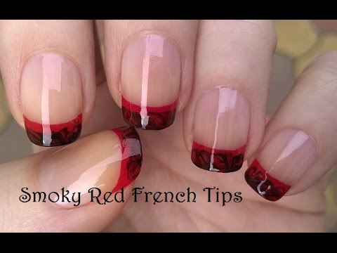 SMOKY NAIL ART Black Red FRENCH MANICURE Tutorial