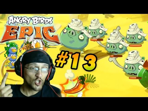 Lets Play Angry Birds EPIC Part 13: Mummy vs. Duddy! Desert Island: Pig Castle (Face Cam Commentary)