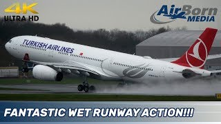 Manchester Airport 4K Plane Spotting CLOSE UP PILOT CAM AND WET RUNWAY ACTION
