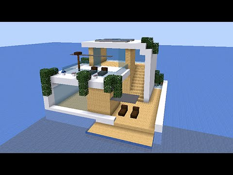 Minecraft tuto maison moderne 20x20 sur l 39 eau map for Minecraft maison moderne avec xroach
