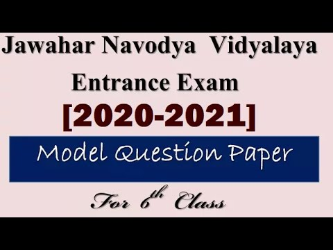 Model Question Paper for Jawahar Navodya Vidyalaya (JNV)Entrance Exam 2018-19