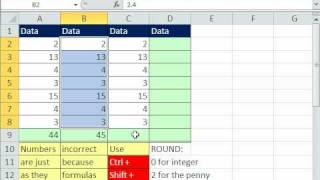 Excel Magic Trick 599: ROUND Only The Total Column Using SUM & ROUND Array Formula