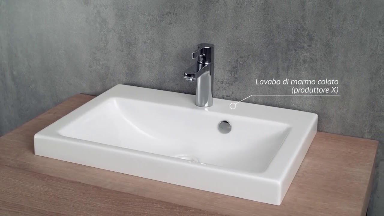 Come Pulire Il Lavabo In Resina kvstore prova di resistenza tra un lavabo per bagno in resina di marmo e  ceramica