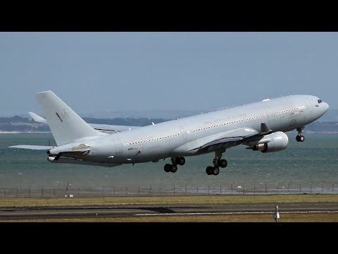 RAAF Airbus KC-30A (A330-200MRTT)   Landing and Takeoff at Auckland Airport
