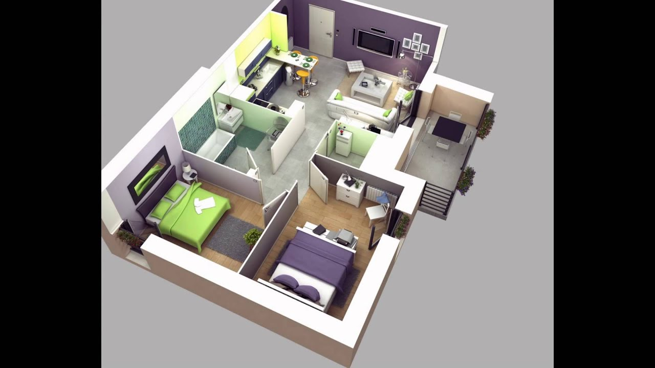 Two bedroom house plans youtube malvernweather Image collections