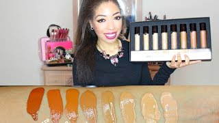 review becca aqua luminous perfecting foundation   demo swatches of all 8 shades