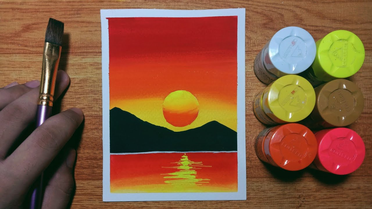 Easy Sunset Poster Color Painting for Beginners   Step-by-step Tutorial