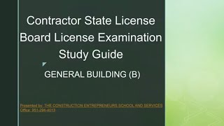General Building B Examination Study Guide