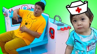 Doctor Baby Maddie Pretend Play Checkup Uncle Mike   Funny Kids Video