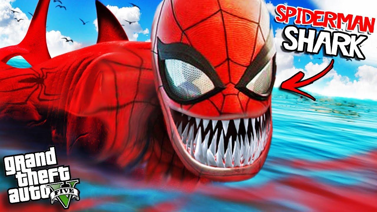 Download SPIDERMAN SHARK has ATTACKED GTA 5 (Mods)
