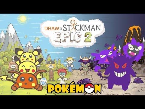 POKEMON Draw a Stickman Epic 2 Gameplay - PIKACHU Family vs GHOST GENGAR Family - Bad Ending