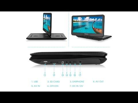NAVISKAUTO HD 15.6 Inch Portable USB, SD, and DVD Player 1080