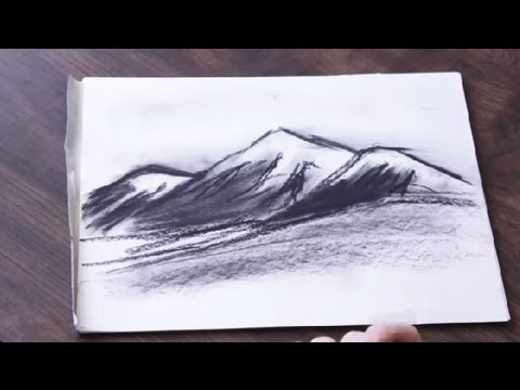 How to draw a charcoal mountain range drawing art youtube