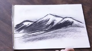 How to Draw a Charcoal Mountain Range : Drawing & Art