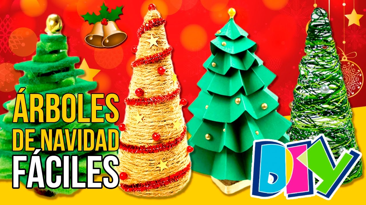 5 arboles de navidad caseros mini manualidades navide os diy para decorar youtube - Decorar regalos navidenos ...
