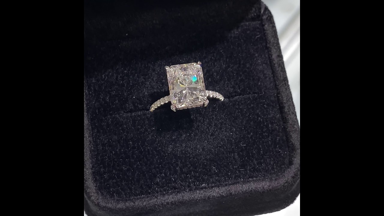 4 carat Radiant Cut Diamond Halo Engagement Ring