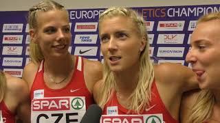 Ženská štafeta po rozběhu na 4x100 m na ME 2018