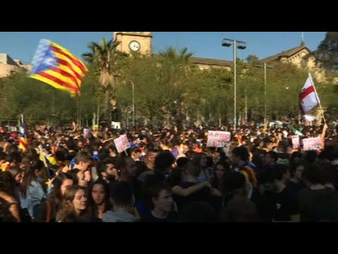 Catalonia: separatist student protest in Barcelona