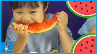 수박 빨리 먹기 챌린지 먹방 놀이! 수박씨 망가짐 벌칙은? ♡ 여름 특집 시원한 수박 파티 Watermelon Challenge | 말이야와친구들 MariAndFriends
