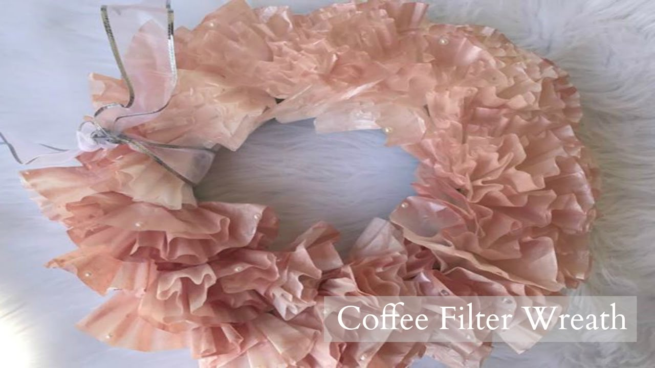 DIY Dollar Tree Coffee Filter Wreath Rose Gold and Pearl Wedding