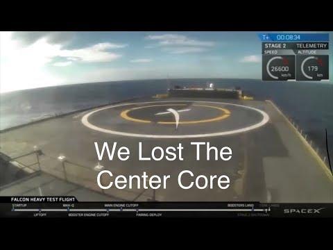 """Falcon Heavy Centre Core Fails To Land """"We Lost The Center Core"""""""