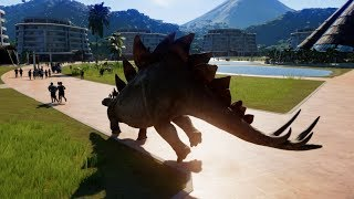 Stegosaurus & Allosaurus Breakout & Fight! Jurassic World Evolution (1080p 60FPS)