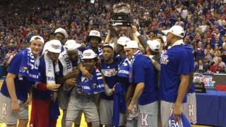 Jayhawks celebrate after winning their 13th-straight Big 12 title