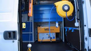 daily iveco as a mobile workshop with special generator and crane