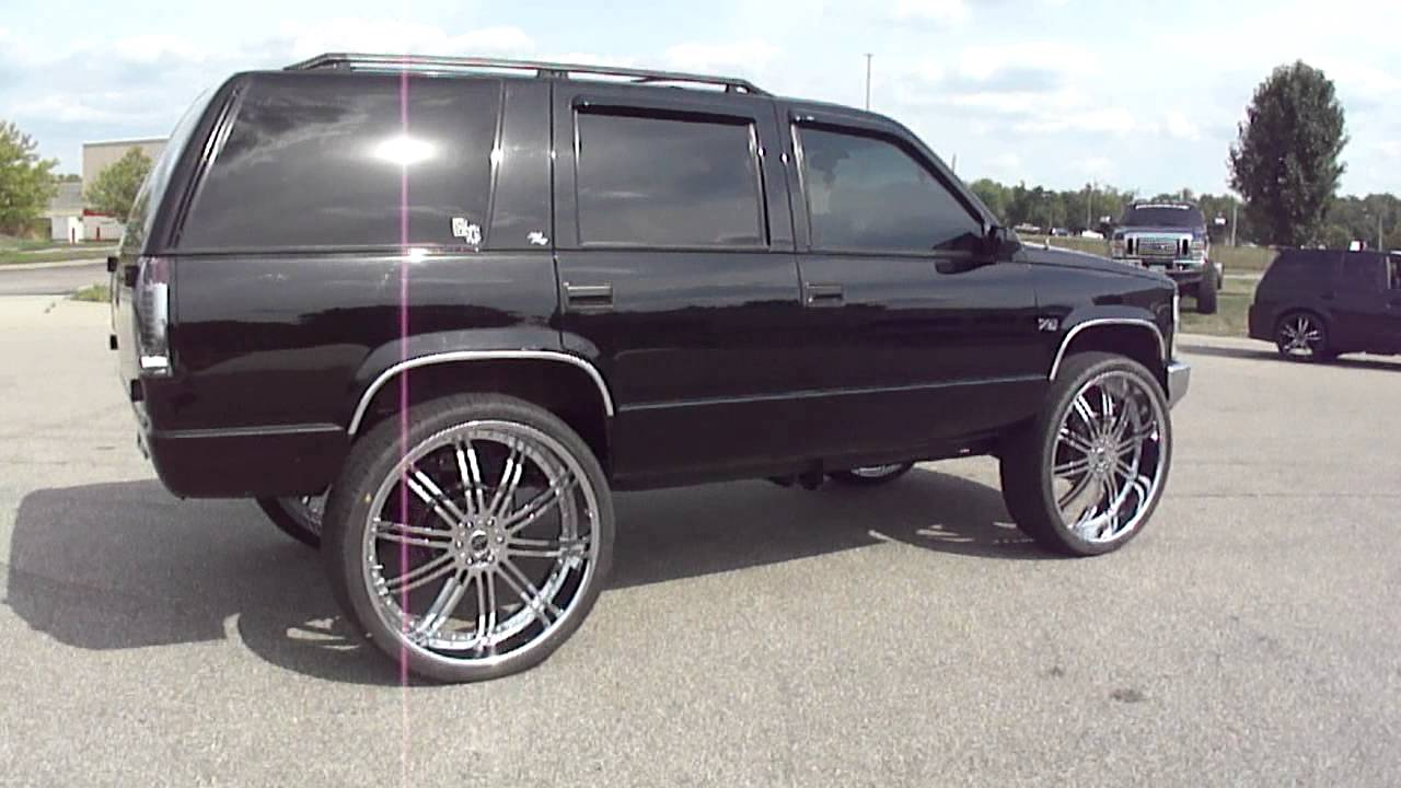 Black Tahoe Lifted On 30 S Spade Kreations Youtube