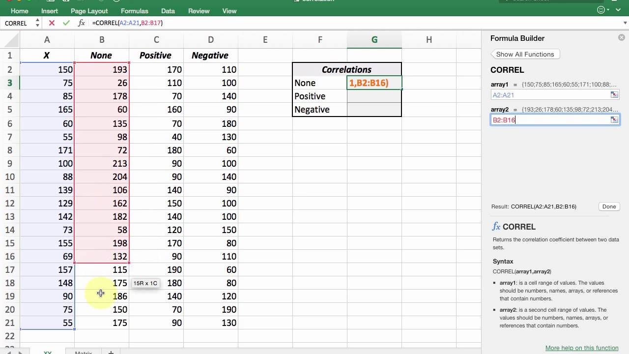 Using Excel to calculate a correlation coefficient | interpret ...