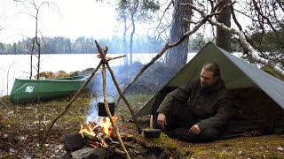 Bushcraft Trip in Untouched Wilderness - Thunder and Rain - Tarp Shelter