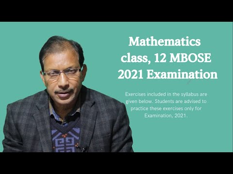 MBOSE Class 12 Science Important Exercise (Math's) for 2021